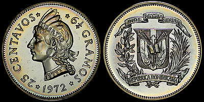 Dominican Republic 25 Centavos 1972 (Choice Proof) *only 500 Minted & Toned*