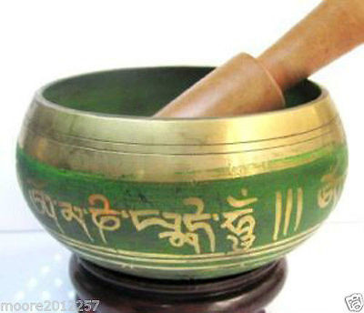 Tibet Copper Crafted Gold Gilt Chakra Meditation Singing Bowl green