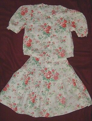 Girl's Top & Skirt Vintage look Floral 100% Cotton - 8 Years