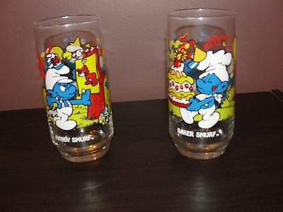 1983 Peyo Smurf Drinking Glasses