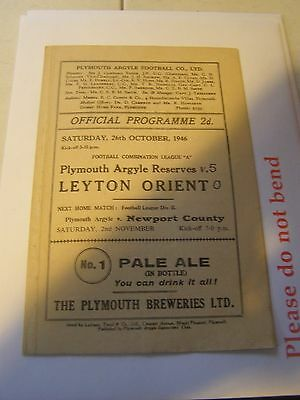 Plymouth Argyle res v Leyton Orient reserves Combination 46/7 programme