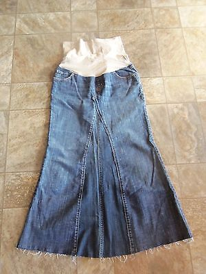 Womens upcycled Maternity American Star belly band denim jean skirt small NWOT!