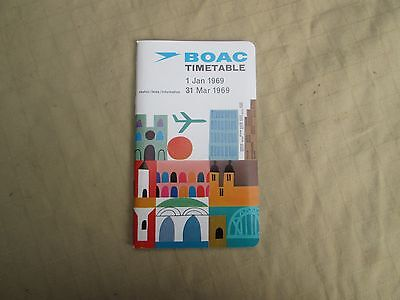 BOAC Timetable , 1st January 1969 to 31st March 1969 - Mint Condition