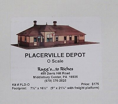 Ragg's to Riches Placerville Depot Kit RGS O Scale Wooden Model Still Sealed NIB