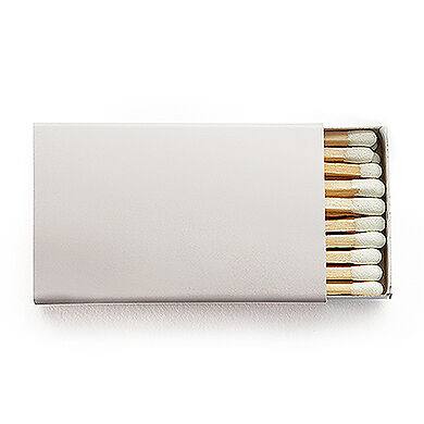 50 Plain Matchboxes with Matches in Silver Wooden Matches
