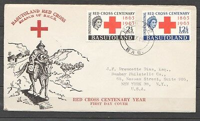 Basutoland 1963 FDC cover with complete set red cross stamps sent to the US