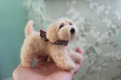 Needlefelted one of a kind cockapoo dog by Wonderwoolfelts