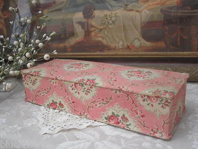 Charming FRENCH Antique Pink Rose Garland BOUDOIR FABRIC BOX Cartonnage 1880