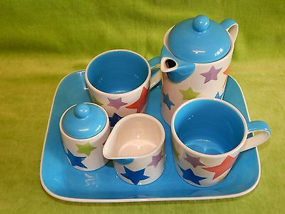 WHITTARD of Chelsea Multi-Colour Star Design 5 piece Coffee for 2 Set & Tray
