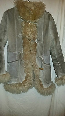 Ladies True  Vintage  Retro  Afghan Type  Sheepskin Coat Toggle Button 38 Chest