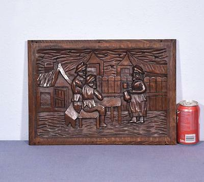 *French Antique Carved Panel Solid Oak Wood Door with Men Drinking
