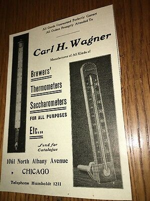 Carl Wagner Brewers Thermometer Saccharometers  1907 Beer Ad Chicago