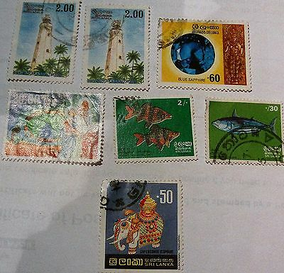 Job Lot Collection Old Vintage Sri Lanka Stamps