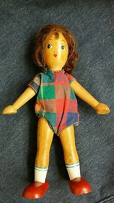 Vintage Wooden Jointed Peg Type Girl Doll With Brown Hair
