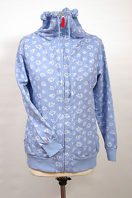 P424/23 Country Rose Girl'sBlue Cotton High Neck Jumper, size S, age 15-16