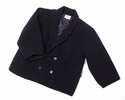 L225/00 Vintage Roelco Woolen Navy Double-Breasted Blazer Jacket,age 3-4, 104 cm