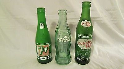 Set of 3 Green Collector Soda Bottles 7 Up, Coke Cola and Bubble Up