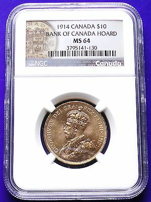 """1914 Canada $10 Gold """"Bank of Canada Hoard"""" NGC MS64 Certified"""