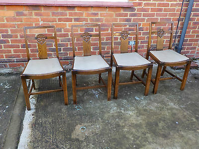 SET OF 4 ANTIQUE ART DECO 1930s SOLID OAK DINING CHAIRS WITH DROP IN SEATS L@@K