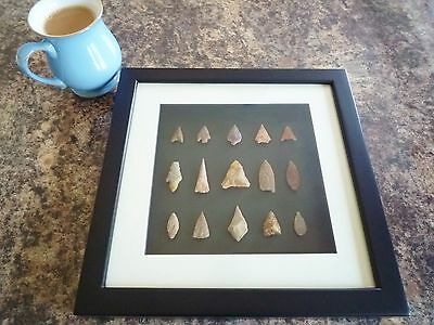 Neolithic Arrowheads in 3D Picture Frame, Authentic Artifacts 4000BC (Q008)