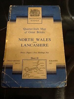 Vintage Ordnance Survey Map of North Wales and Lancashire 1957