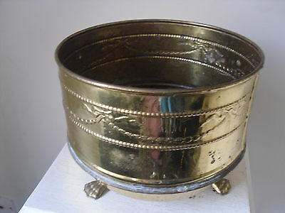 Vintage Brass Planter Plant Pot Jardiniere 3 Paw Feet Bow Decor HOME OR GARDEN