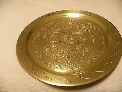 Thick brass tray with silver and copper overlay