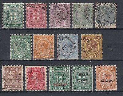 Jamaica 1860 - 1929 QEII KGV Selection Used Hinged No Gum (#1192)