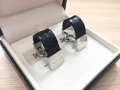 Beautiful MontBlanc Leather and steel Cufflinks - MINT