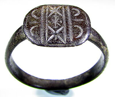 Superb Roman Bronze Ring With Symbol On Bezel - Wearable - 1902