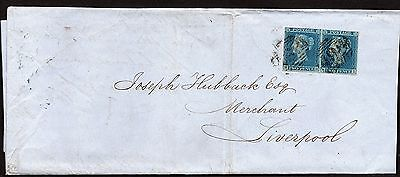 QV letter with sg14 pair of 2d blue 4 margin ( MH-MI ) tied by Manchester pmk.