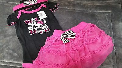 Spencers Baby Punk Princess Outfit Costume Pink & Black 0-6 Mo Girl NWT