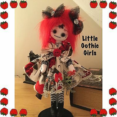 """Moon the 12"""" Gothic hand made rag doll by Little Gothic Girls"""