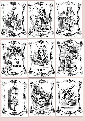 Alice In Wonderland A5 OR A4 size decoupage sheets -8 designs, you choose
