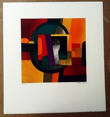 Andre Minaux 1960s? ABSTRACT PORTRAIT ORIGINAL LITHOGRAPH SIGNED VINTAGE