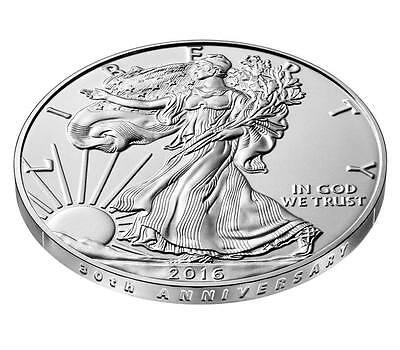 2016 W 30th Anniversary Burnished American Silver Eagle Uncirculated Coin N Hand