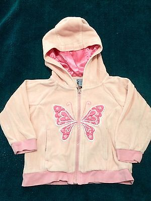Gorgeous Pumpkin Patch Pink Velour Butterfly Zipped Hoodie Size 2 Years
