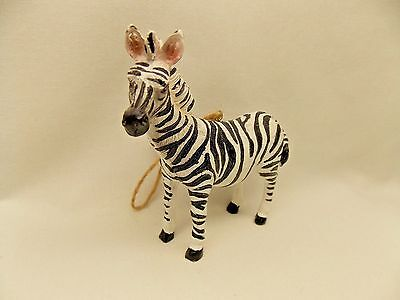 Zebra Figurine Resin Material Christmas Tree Ornament  4 x 4 Inch New