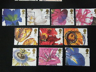 1997 Greeting Stamps - Flower Paintings -used set of 10
