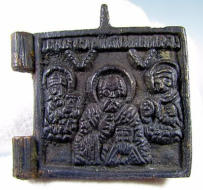 Superb Medieval Bronze Icon Depicting Three Saints - 1919