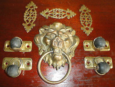 Vtg table hardware,lion pull,Victorian drawer pull backplate,brass,casters,old