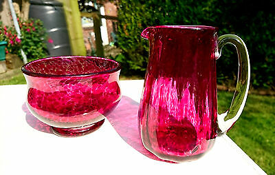 Tvg~Teign Valley Glass~Hand Blown~Mottled~Cranberry & Clear~Jug~Bowl~Signed~Xmas