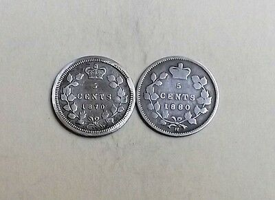 Canada Victoria Two Five Cent Coins 1880 And 1870