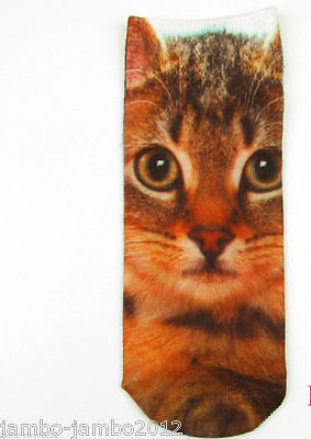 UKsale: Brown Tortoishell KITTEN Trainer SOCKS; UK Size 3-7 CAT 3D Digital Photo