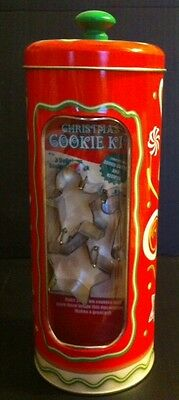 Christmas Cookie Tin w/ 3 mini metal cookie cutters gingerbread star candy cane