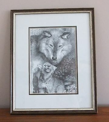 Robert Pow - Picture - Wolf Mother and Cub - signed