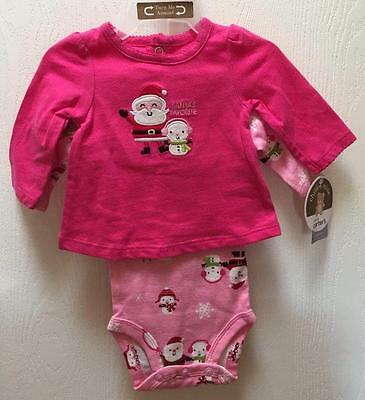 Christmas Baby Girl Pink Santa Outfit Onesie Shirt Pants 3 pc. Size NEWBORN NWT