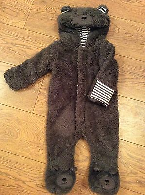 Baby Soft Plush Hooded Bear Onesie With Ears Age 3-6 Months