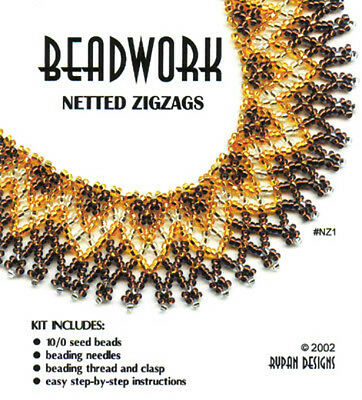 Rypan Designs - NETTED ZIGZAGS - Beaded Netting Kit in black, gold, silver