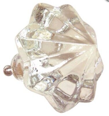 "New Glass Knob Door Pull Hardware 2 1/2"" XL Clear Crystal Antique Shabby Chic"